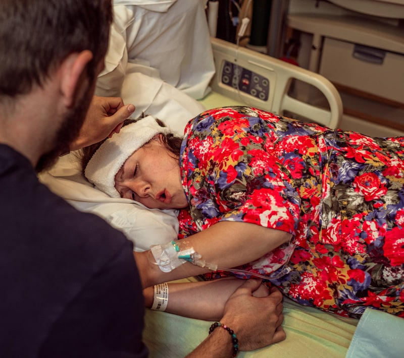 Birth Photography - Birth Photographer - woman breathing through her contraction