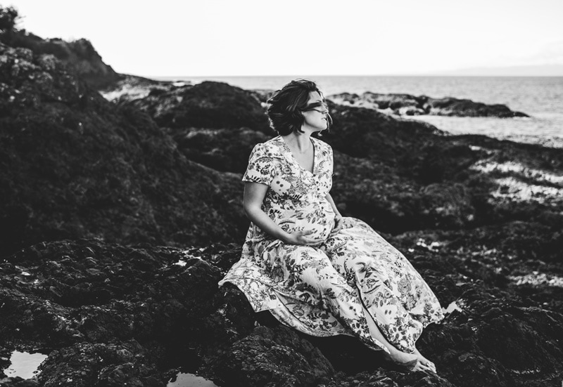 Maternity Photography - Maternity Photographer - Black and White Image Woman on the beach