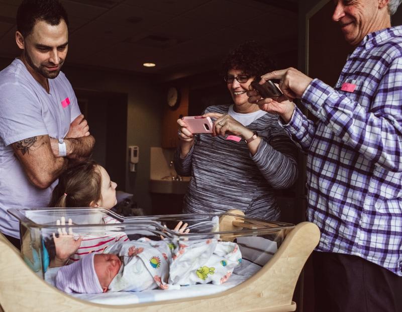 Fresh 48 Photographer, Fresh 48 Photography Memories, grandma and grandpa taking pictures of baby