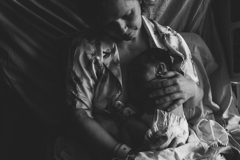 Fresh 48 Photographer, Fresh 48 Photography Memories, black and white of baby sleeping on mother's chest.